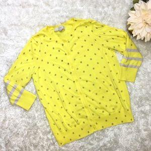 LOFT Petites Yellow Polka Dot Cardigan 3/4 Sleeve